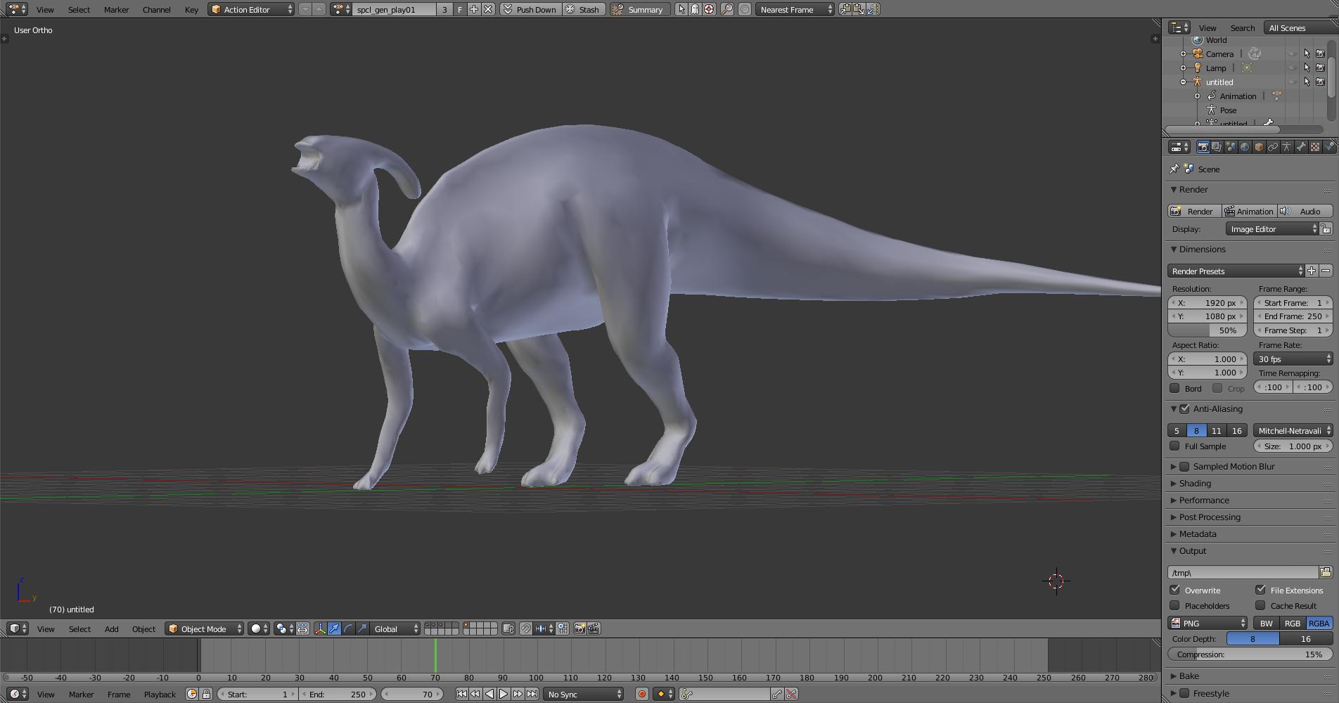 Model of the Jurassic Park Parasaurolophus