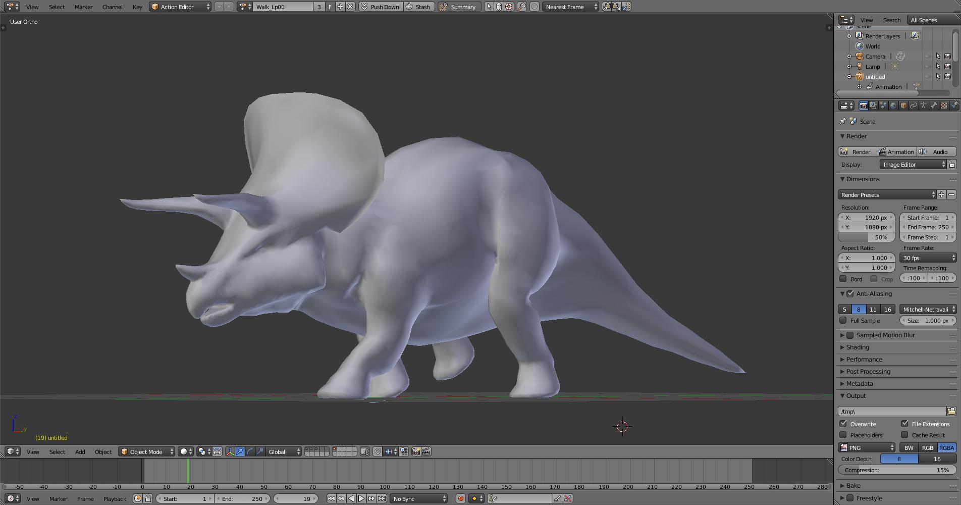 Model of the Jurasic Park Triceratops