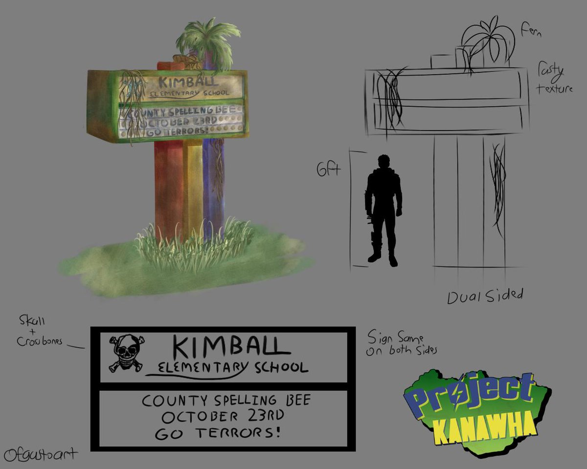 Concept Art of the Kimball Elementary School Entrance Sign.