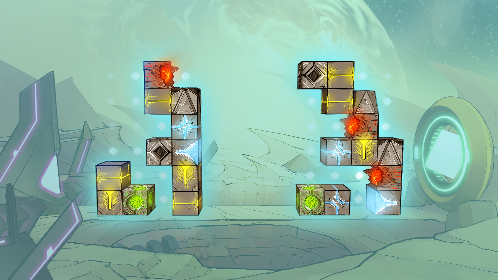 Image of the Game Design Document submitted to the Universal Game Dev Challenge in 2018: Competing players build single Olkari Cubes with various attack and defense capabilities and stack them to towers in the middle.