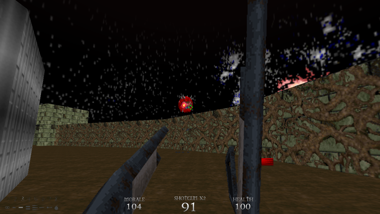 Fighting against a caco while showcasing the improved HUD.