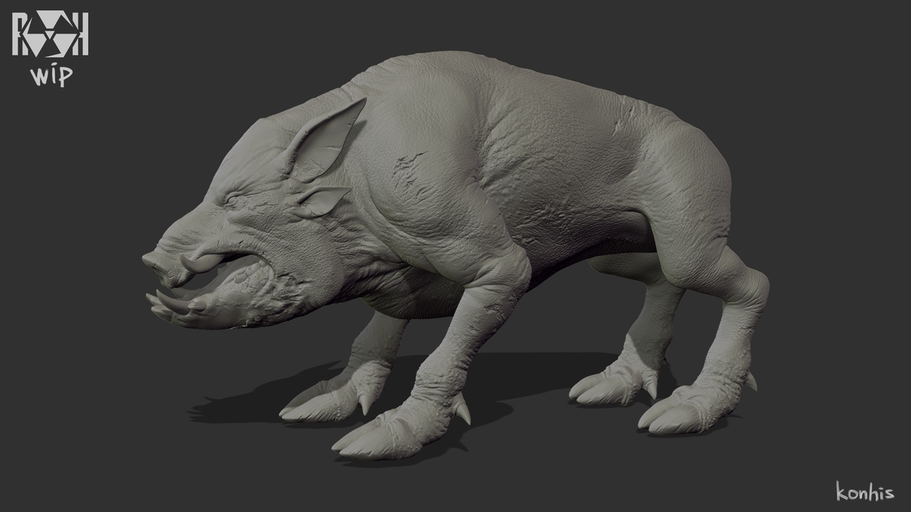 high-poly of a boar