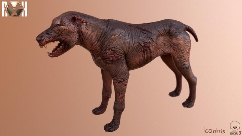 Finished model of a blind dog