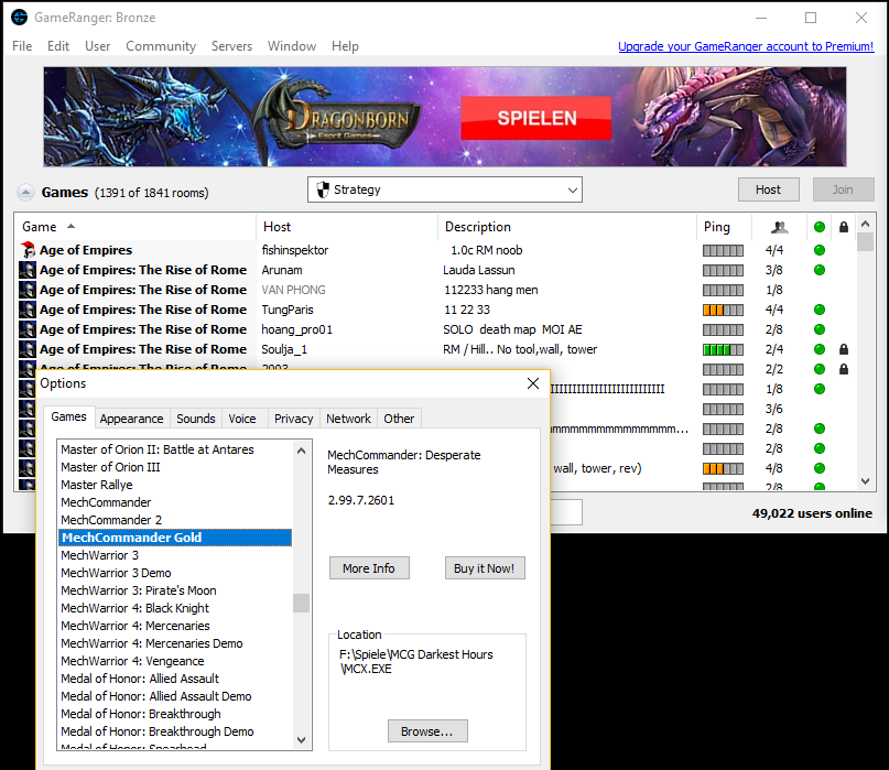 GameRanger automatically starts MCX.exe out of the chosen game folder.