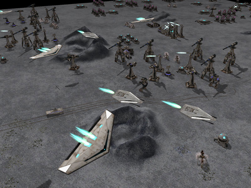Fleets of Overmind aircraft swarm around a base.