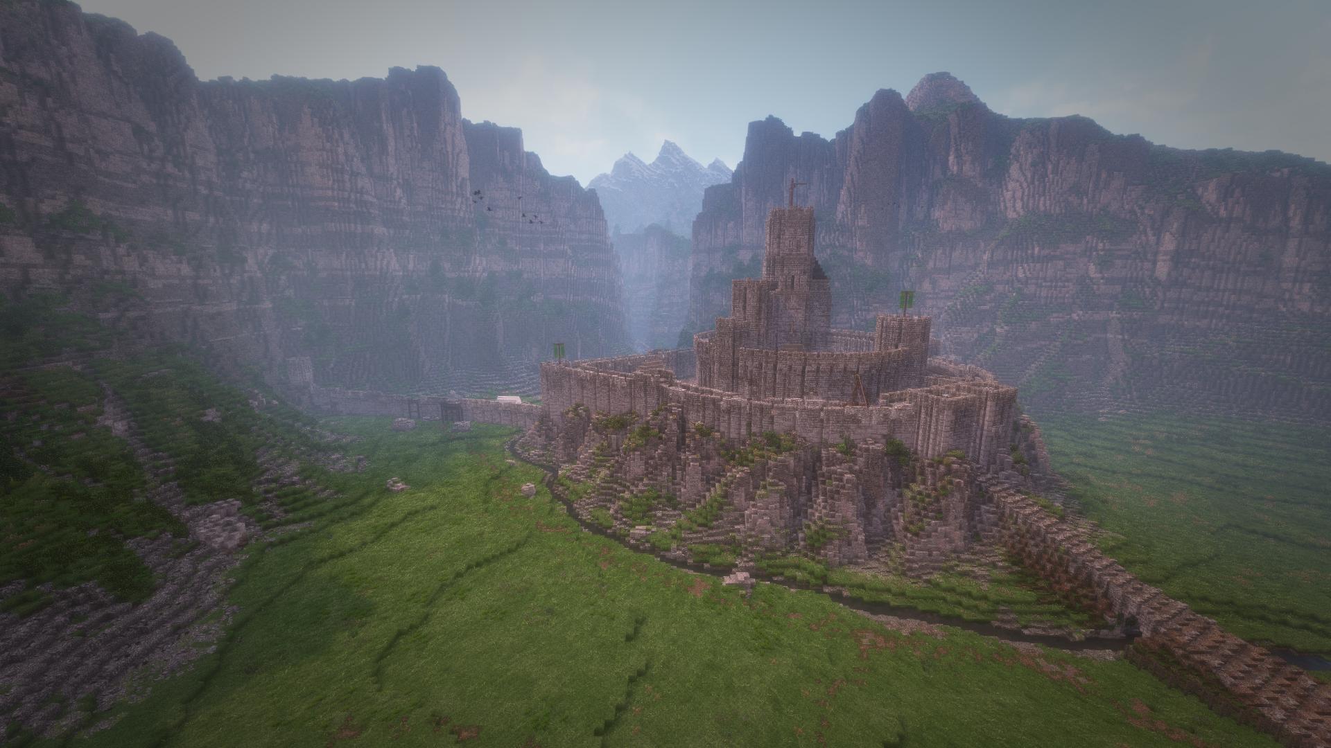 The Hornburg, based on Tolkien's mudmap of Helms Deep