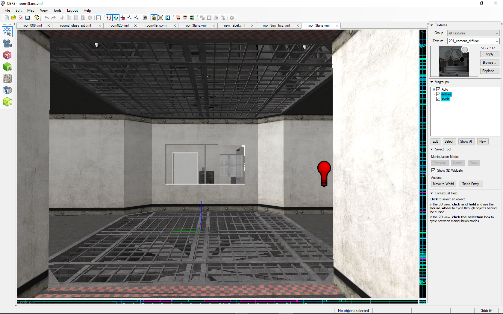 this is room3fans new room with a 2 massive fans in center and a window with a checkpoint at left wall