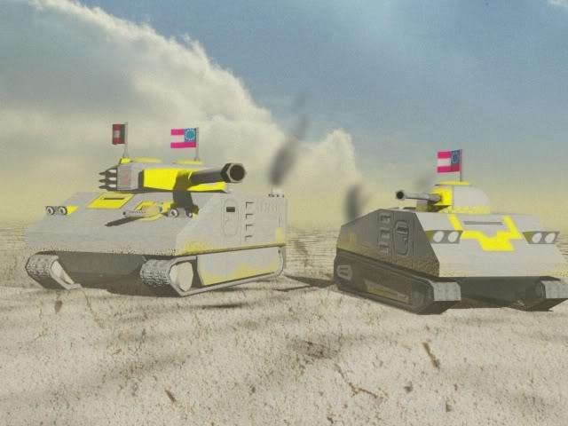 Mastiff Medium Tank (left), Beagle Light Tank (right)