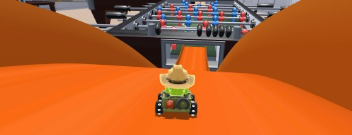 rolling down into the foosball table