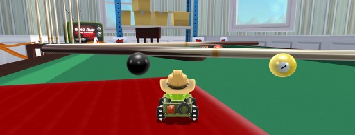 dropping down onto the pool table