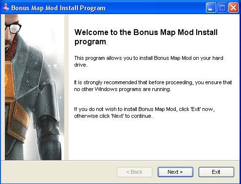 Press next to install Bonus Map Mod use installer dont zip: