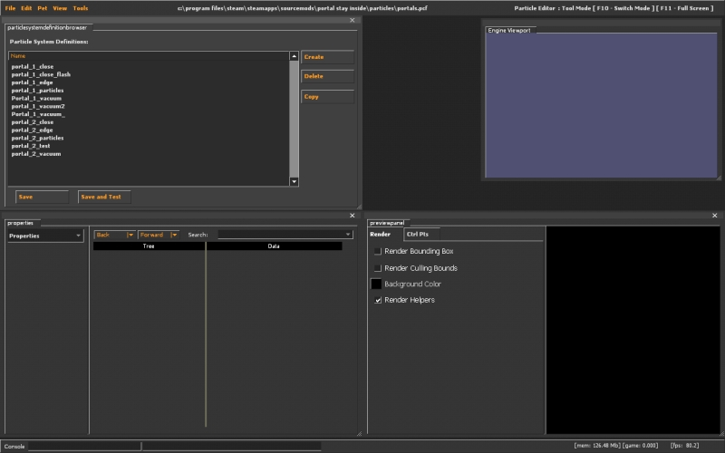 The Source particle editor.