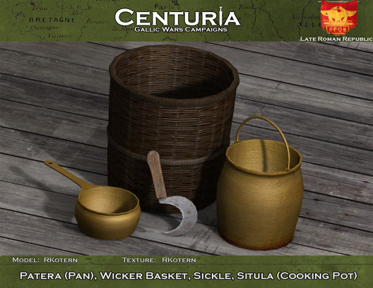 Patera (Pan), Wicker Basket, Sickle, Situla (Cooking Pot)