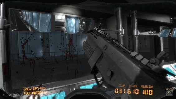 The players have managed to clear their way down to a barricaded control room overlooking the giant Carcharodon Carcharias water tanks. Biological research is still under complete AI lock-down and it'll take a manual systems override to gain access to the flooded basements of Operations and further down to the stations mainframe.