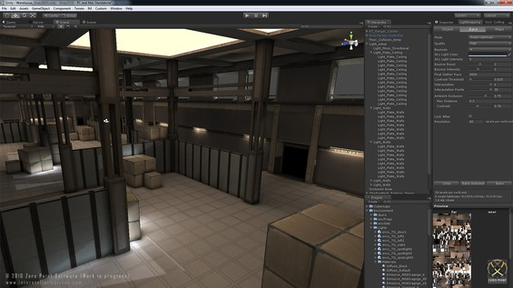 Early dump of our first attempts at giving the lightmapper in Unity 3.1 a run for its money. The lighting setup consists of 1 directional light with all secondary illumination achieved with emissive materials. The bake took approx. 3 hours (i7 Q720 1.6GHz) based on the bake-settings shown to the right.