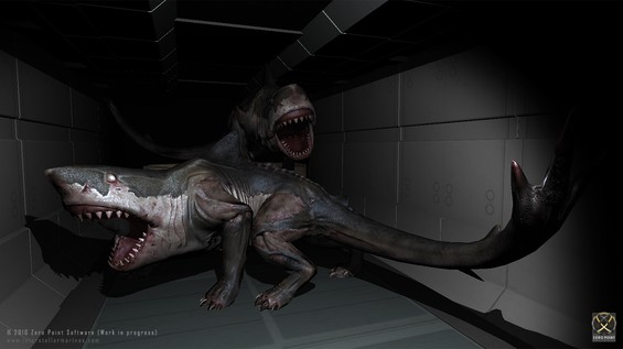 When we created our special Spearhead and Frontliner Christmas present in Unity 3.1 .. we only had time to implement a few small Easter Eggs. One of the Easter Eggs is a black corridor with two Shark Creatures and with a bit more time we would have created a nice little shock effect to ruin your sleep! .. With Christmas coming every year, no doubt we'll get a second chance! :)