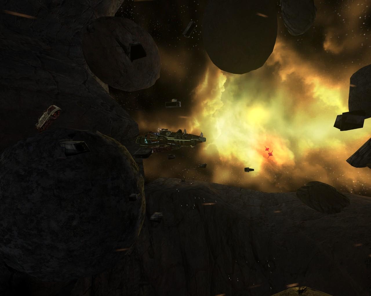 The derelict NTSS Pheonix floats in space.