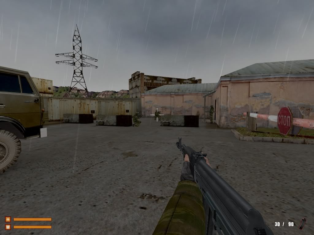 The beginning of the Industrial sector, the buildings and powerline at the back are part of the 3D skybox similar to that of Source.