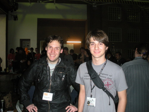 Alexander Bruce on the left humoring me as I gratefully accept the awesome picture with the awesome developer