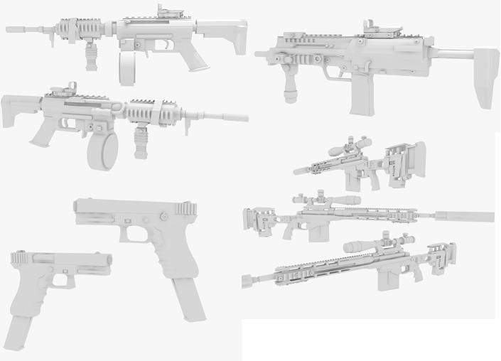 Few guns, No Textures!