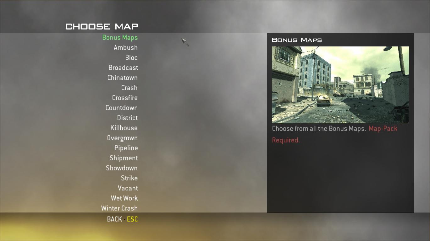 Extra Maps List addon - Final Warfare mod for Call of Duty 4 ... on call of duty mw3 maps list, call of duty black ops maps list, call of duty world at war maps list,