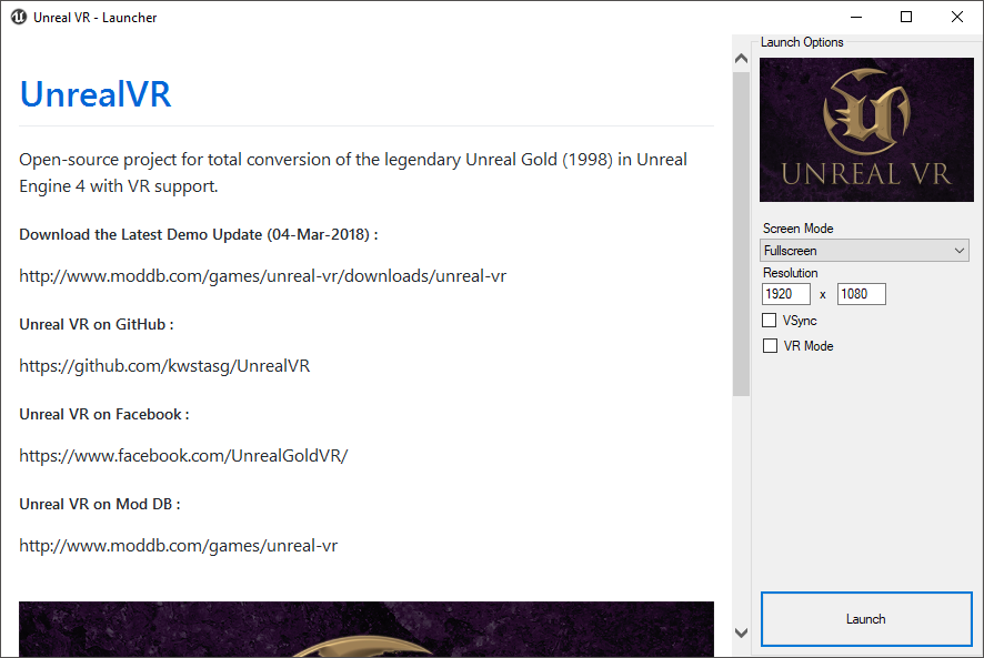 UnrealVR - Launcher Tool file - Mod DB