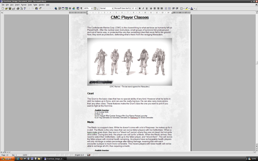 OverDose Design Document File Mod DB - Game design document download