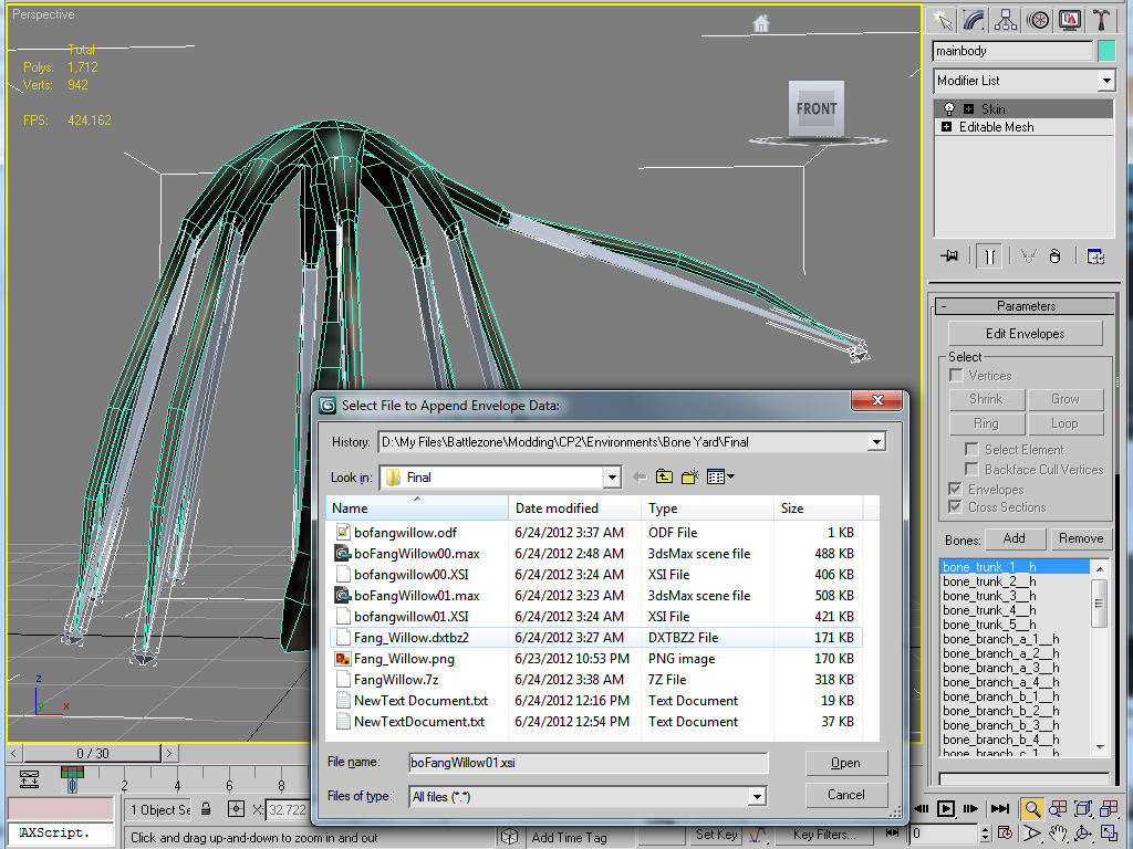 3ds Max XSI Bone Envelope Export Script file - BZ2 Community Project