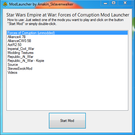 FoC Mod-Launcher file - Star Wars: Empire at War: Forces of