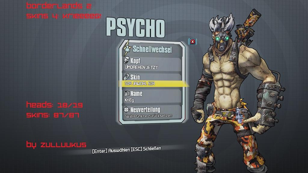 Borderlands 2 krieg the psycho skins addon mod db
