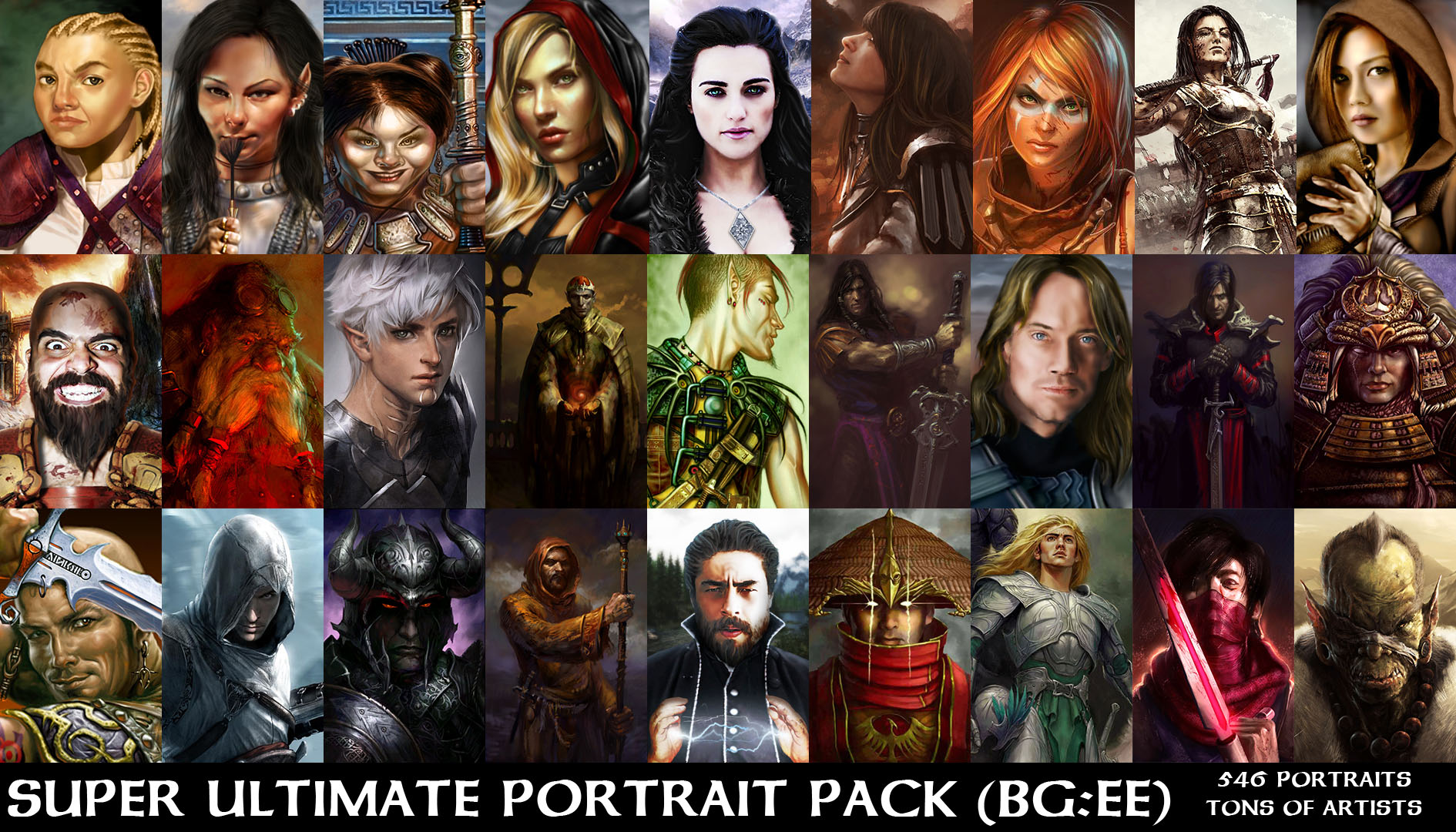 Super Ultimate Portrait Pack Bg Ee Zip Addon Baldur