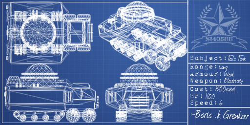[Blueprints of original Tesla Tank, not mine. Stats do not apply.