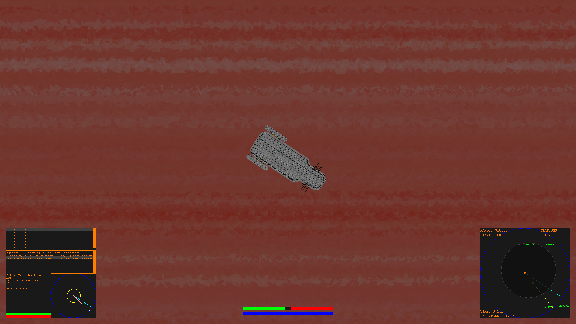 Player owned Condor flying over a gas giant.