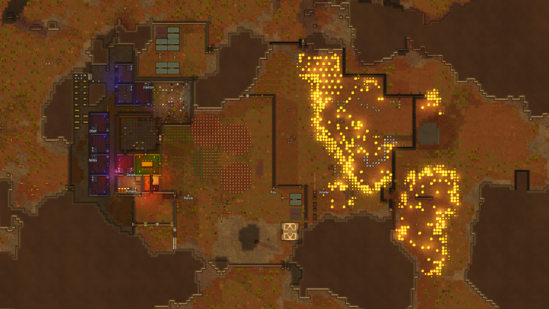 Rimworld Colonist On Fire forestfire