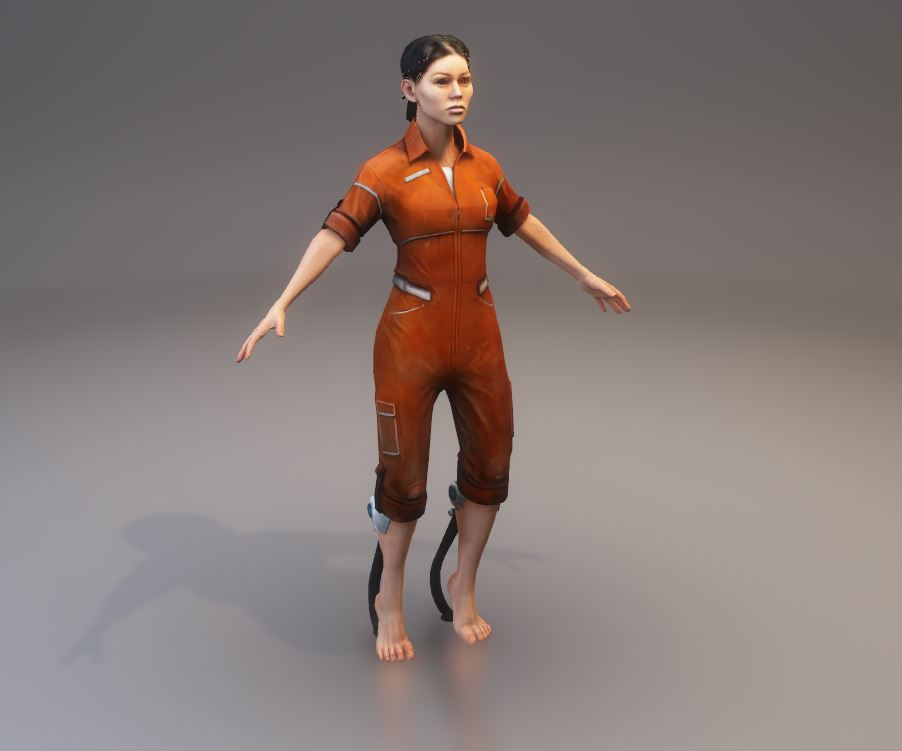 Screenshot of Chell, as she will appear in the game, in T-Pose.