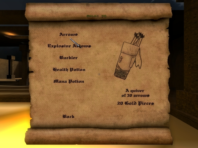 The 'buy menu' allowing the player to choose from a variety of items based on his gold count which he/she receives from accomplishing objects / eliminating the opposing force.
