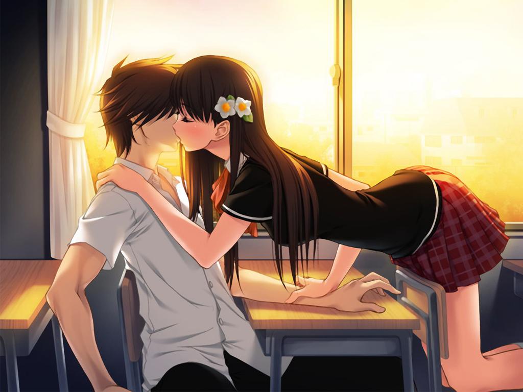 Картинки аниме парни с девушками целуются