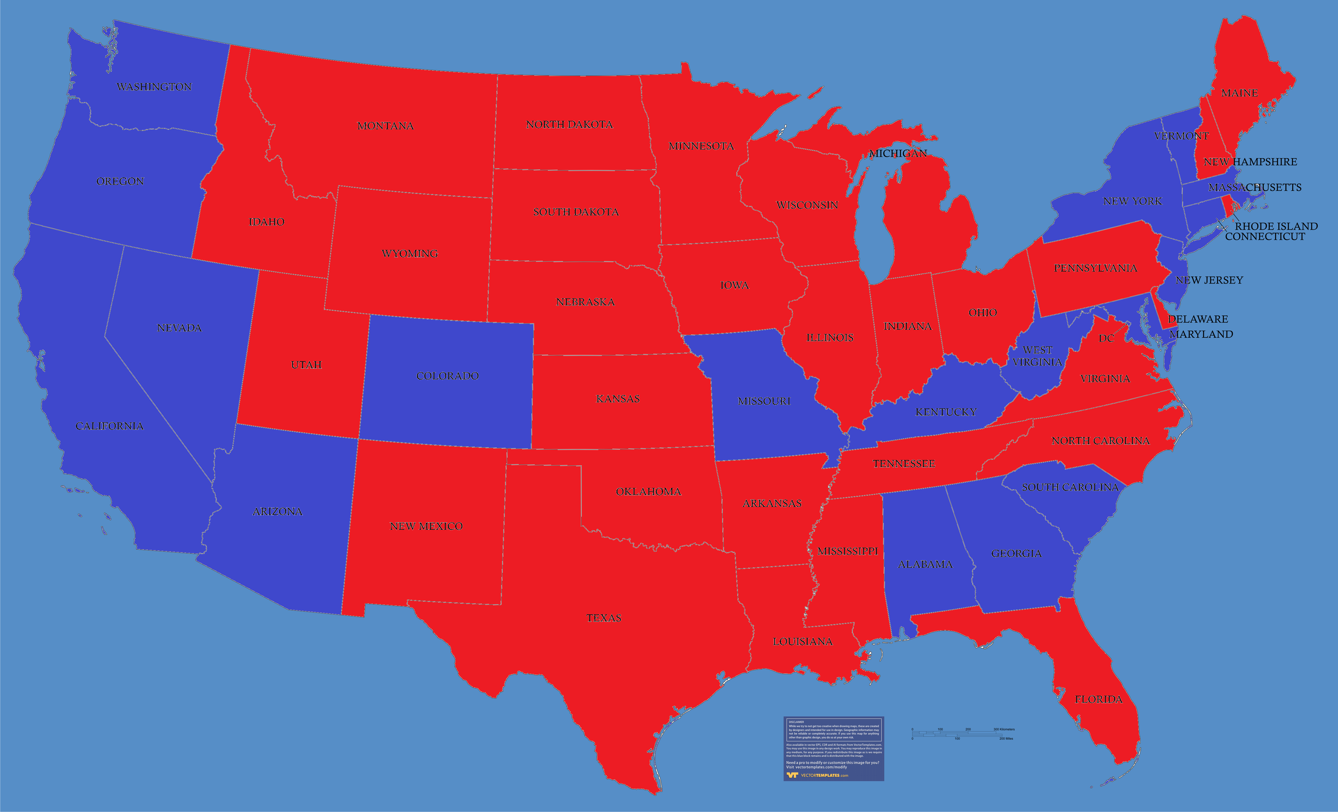 Map Of Us States Democrat Republican - Political map of us states