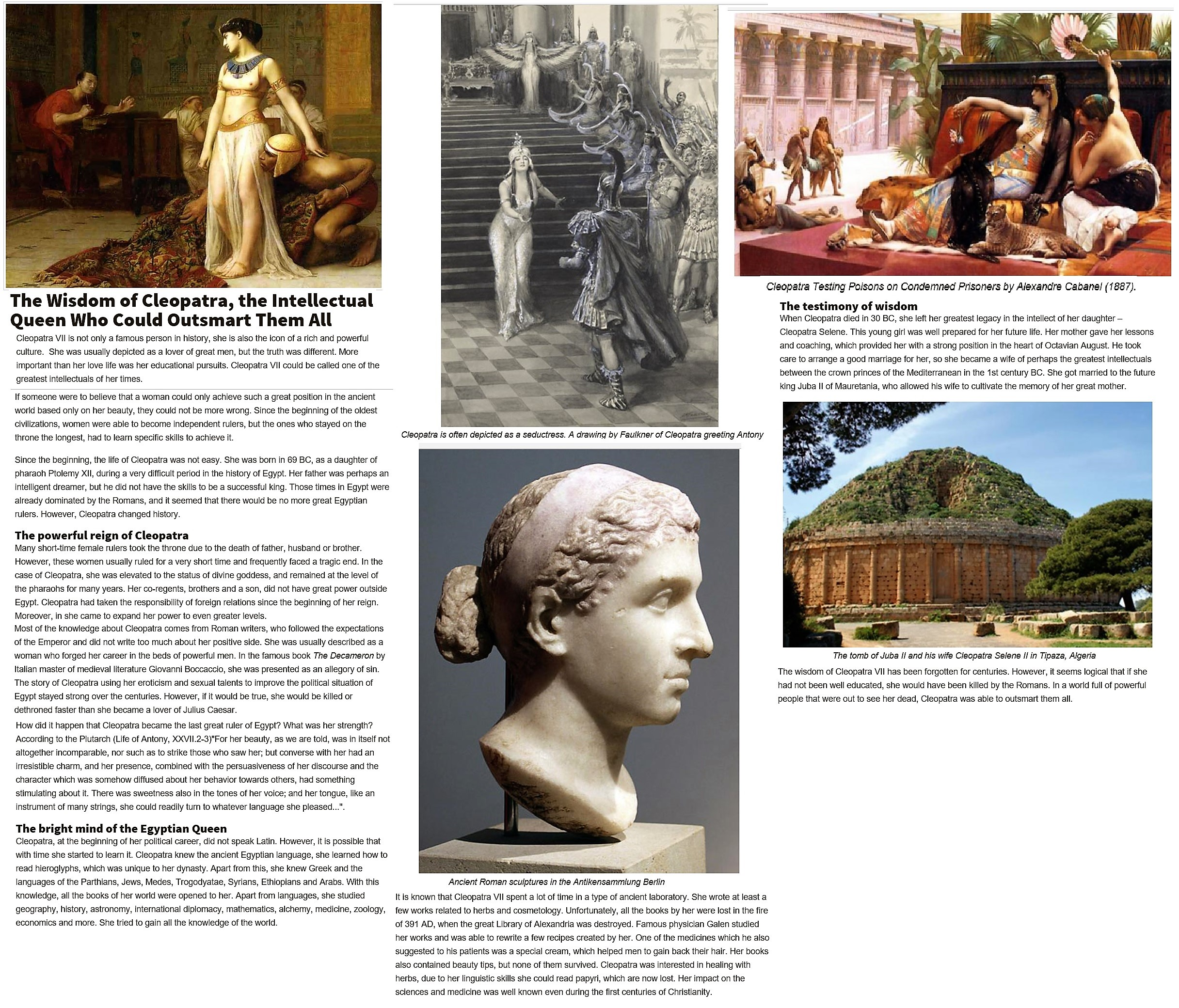 historical personalities and issues cleopatra