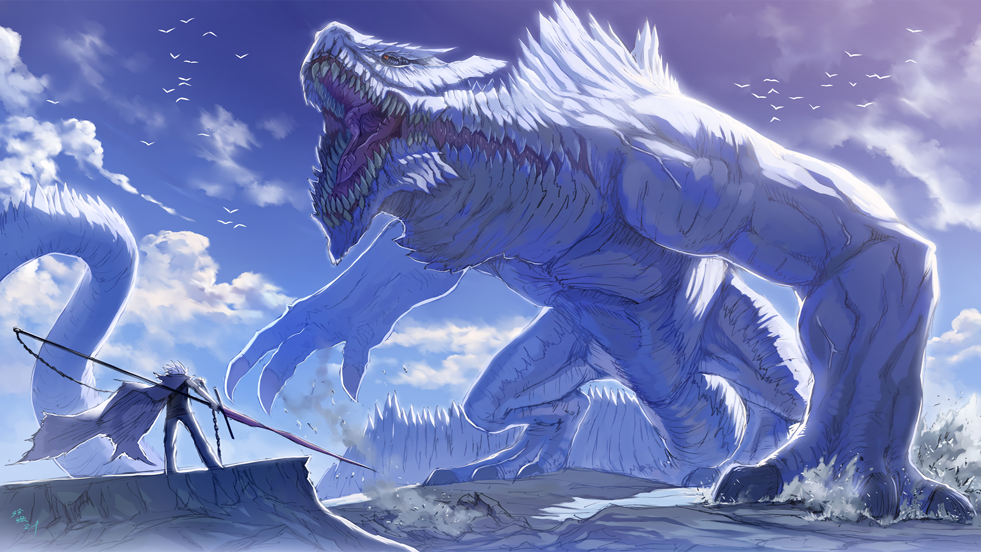 anime wallpapers pretty cool monster fight image mod db