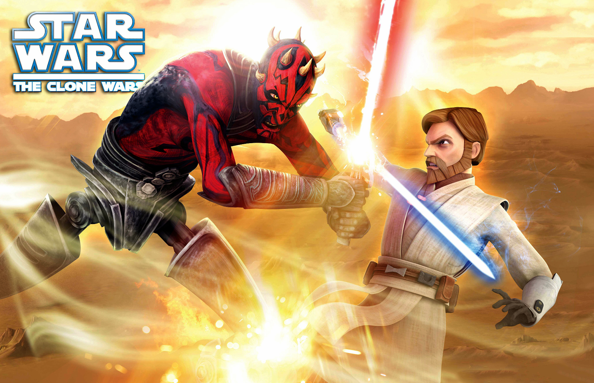 Darth Maul Vs Obi Wan The Clone Wars Wallpaper Image Sw M