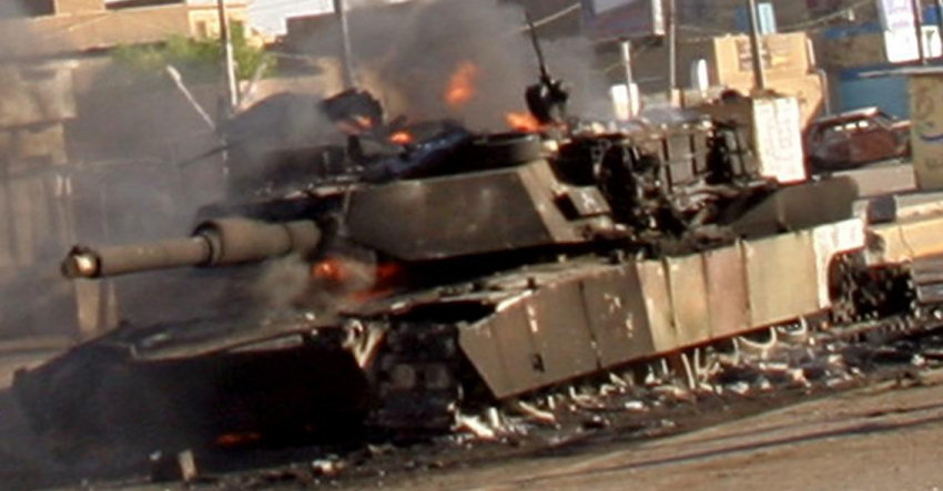 M1A2 Abrams knocked out by enemy fire in Iraq. image - Tank Killer Lovers