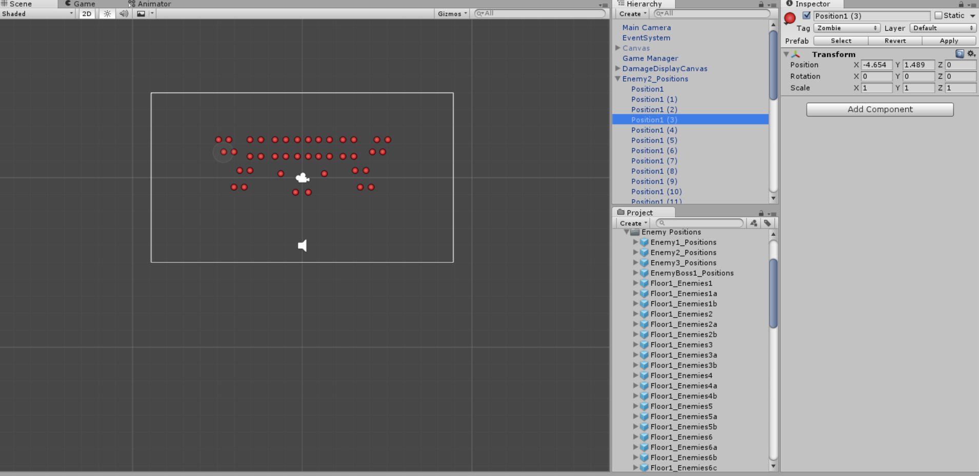 How the enemy is setup in Unity