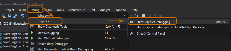 Graphics Debugging Wave Engine games in Visual Studio 2015