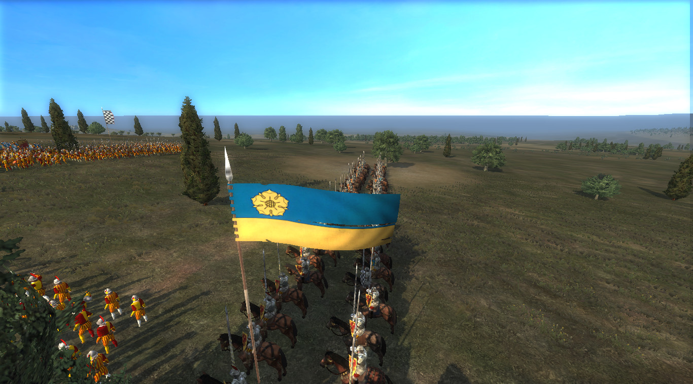 Showing the battle banner for the cavalry units