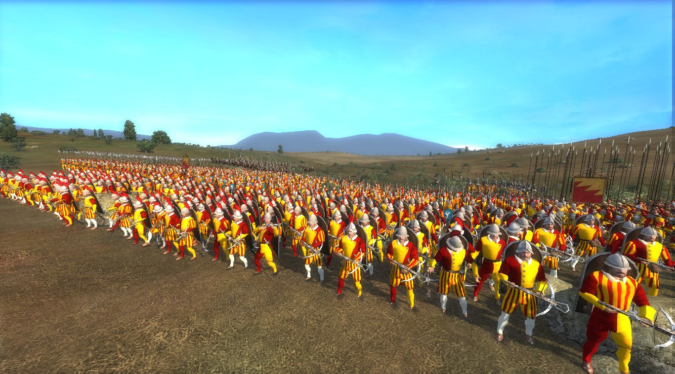 Showing the Pavise Crossbowmen of Bologna from the front