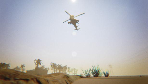 Helicopter flying over Najaf.