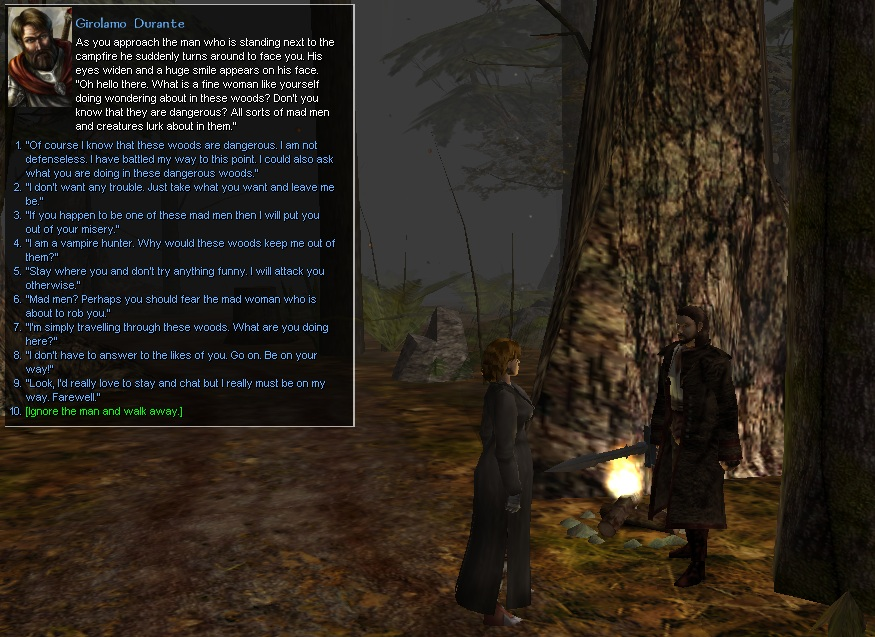 There are plenty of dialogue choices to choose from. Some dialogue is unique meaning that you need to reach a certain requirement to be able to access it. Each dialogue choice in the conversation shown here leads to different dialogue and information being learned.