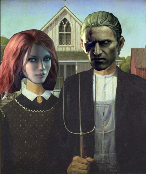 Triss Geralt American Gothic