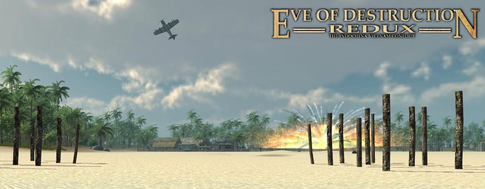 Skyraider bombing a beach village